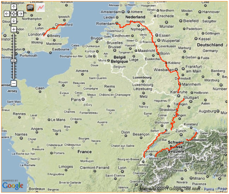 London to St Gallen